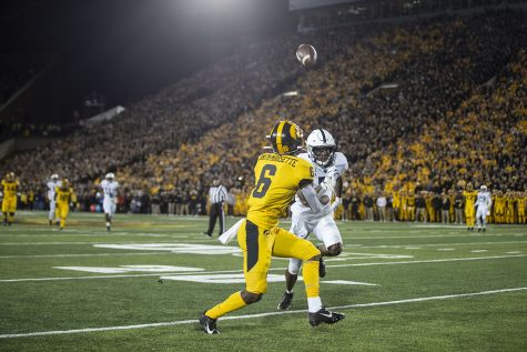 Iowa WR Ihmir Smith-Marsette catches a pass during the Iowa football vs. Penn State game in Kinnick Stadium on Saturday, Oct. 12, 2019. The Nittany Lions defeated the Hawkeyes 17-12.