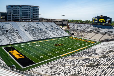 Kinnick Stadium is seen fom the north end zone at Iowa Football Media Day on Friday, August 9, 2019. (Shivansh Ahuja/The Daily Iowan)