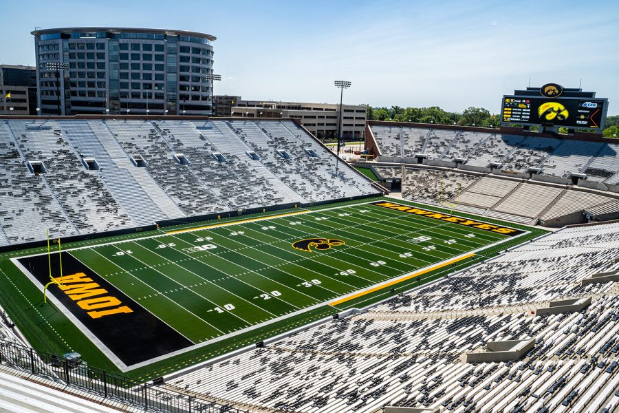Kinnick+Stadium+is+seen+fom+the+north+end+zone+at+Iowa+Football+Media+Day+on+Friday%2C+August+9%2C+2019.+