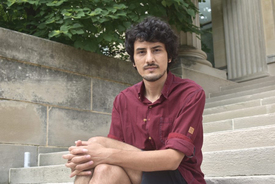 UI+graduate+student+Ramin+Roshandel+poses+for+a+portrait+outside+on+Sunday+Aug.+2+2020+outside+Shaffer+Hall.+Roshandel+is+currently+working+on+his+Ph.D.+in+music+composition.