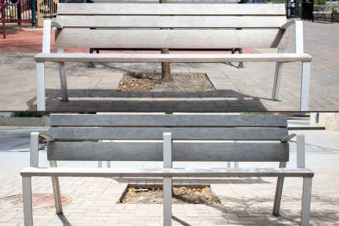 Park benches are seen on Wednesday, August 5, 2020 outside in the Iowa City Ped Mall. (Hannah Kinson/The Daily Iowan)