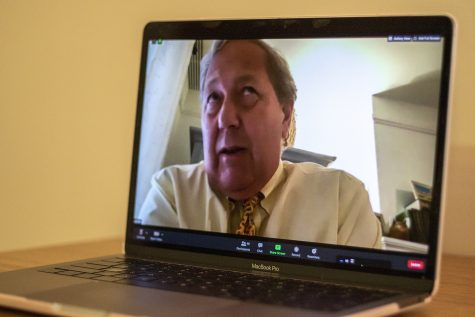 University of Iowa President Bruce Harreld addresses members of UISG virtually at the first University of Iowa Student Government Meeting on Tuesday, August 25, 2020. (Nichole Maryse Harris/The Daily Iowan)