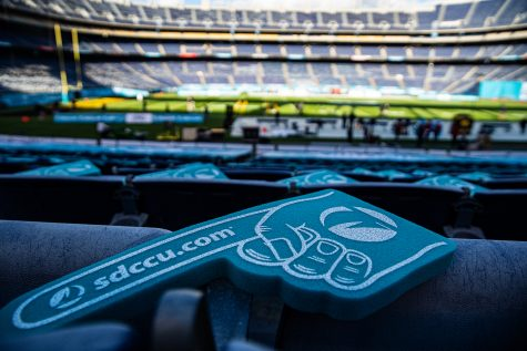 Foam fingers sit on seats during the 2019 SDCCU Holiday Bowl between Iowa and USC in San Diego on Friday, Dec. 27, 2019. The Hawkeyes defeated the Trojans, 49-24. (Shivansh Ahuja/The Daily Iowan)