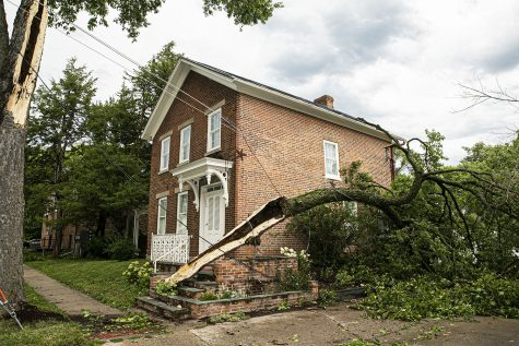 A split tree and a knocked down power line are seen in Iowa City on Monday, Aug. 10, 2020. A severe weather storm swept through the city causing property damage.