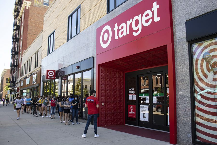Customers+wait+outside+the+storefront+of+Target+during+the+grand+opening+on+Sunday%2C+Aug.+16%2C+2020+in+downtown+Iowa+City.+The+store+had+a+soft+opening+four+days+earlier+on+Wednesday.