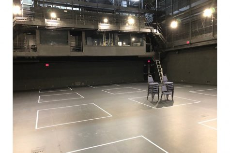 Photo of Thayer Theatre, where the UI Department of Theatre Arts has blocked out spaces for social distancing in movement classes. Contributed.