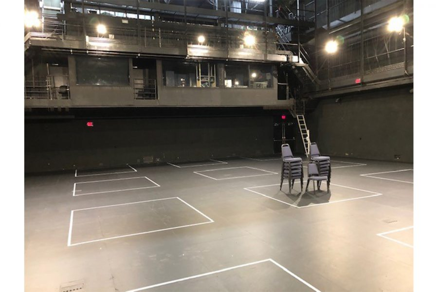 Photo+of+Thayer+Theatre%2C+where+the+UI+Department+of+Theatre+Arts+has+blocked+out+spaces+for+social+distancing+in+movement+classes.+Contributed.