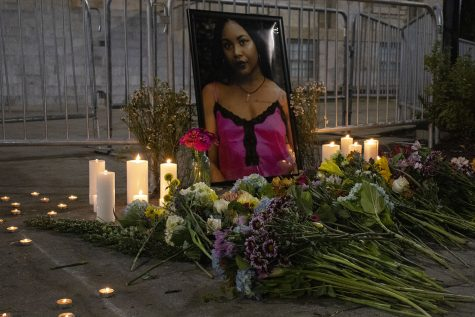 A memorial for Makeda Scott is seen on Saturday, Aug. 29, 2020. Protesters ended the night at the Pentacrest with a vigil to honor and celebrate her life.