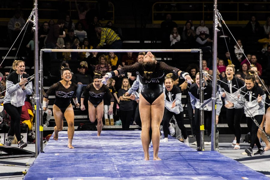 Iowa's Jax Kranitz competes on uneven bars during a women's gymnastics meet between Iowa and Iowa State at Carver-Hawkeye Arena on Friday, March 1, 2019. Kranitz scored 9.8 in the event. The Hawkeyes, celebrating senior night, fell to the Cyclones, 196.275-196.250.