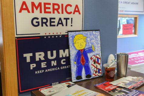 A drawing of President Donald Trump rests against the wall during a rally in support of the president's re-election campaign. The rally was a stop on a larger bus tour where key campaign members travel the country to mobilize the campaign. Matt Whitaker, Matt Schlapp, Erin Perrine, Penny Nance, and Eric Branstad let the event, which took place at the campaign's Cedar Rapids Victory Office on Tuesday, Sept. 10.