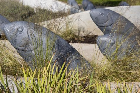 The Wellspring sculpture at Hancher Auditorium is seen on Friday, Sept.25.