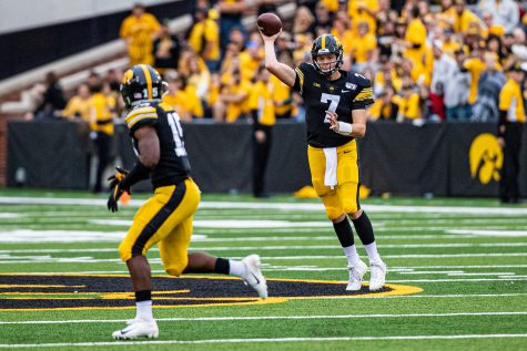 Iowa quarterback Spencer Petras makes a pass during a football game between Iowa and Middle Tennessee State at Kinnick Stadium on Saturday, September 28, 2019. The Hawkeyes defeated the Blue Raiders, 48-3.