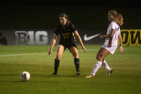 Forward Samantha Tawharu prepares to rush the ball during the women's soccer game against Nebraska at the Iowa Soccer Complex on Thursday, Oct. 3, 2019. The Hawkeyes defeated the Cornhuskers 1-0.