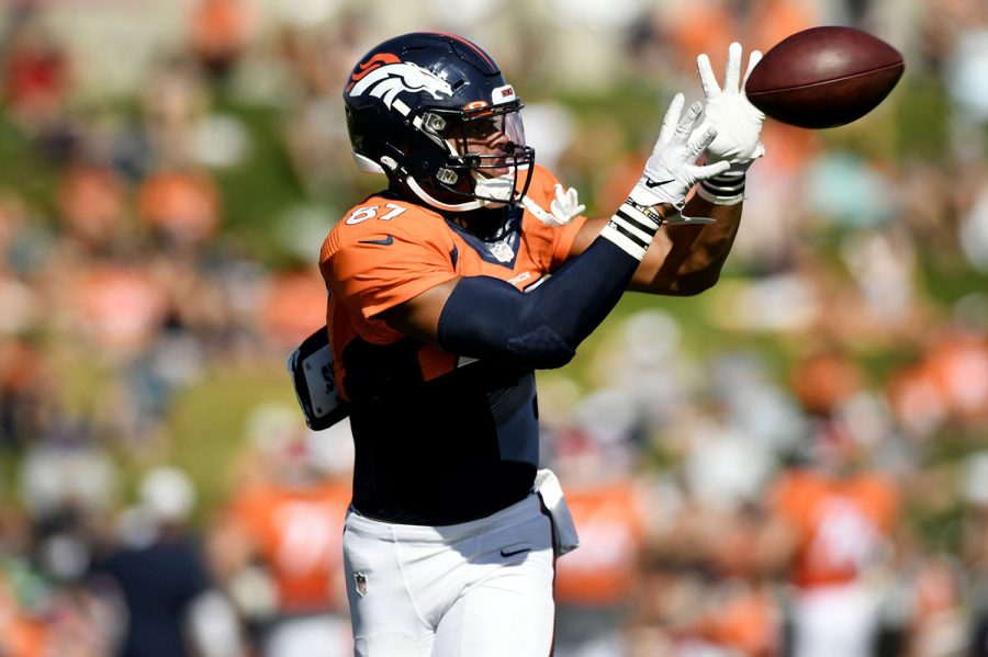 Denver+Broncos+tight+end+Noah+Fant+%2887%29+catches+a+ball+during+training+camp+at+UCHealth+Training+Center+on+Aug.+11%2C+2019+in+Englewood%2C+Colo.+%28Helen+H.+Richardson%2FMediaNews+Group%2FThe+Denver+Post%2FGetty+Images%2FTNS%29