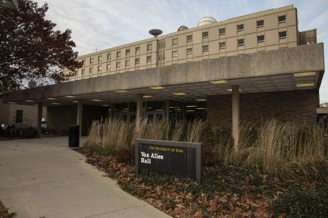 Van Allen Hall is seen on Monday, November 18, 2019. Van Allen is the home of the physics and astronomy department.