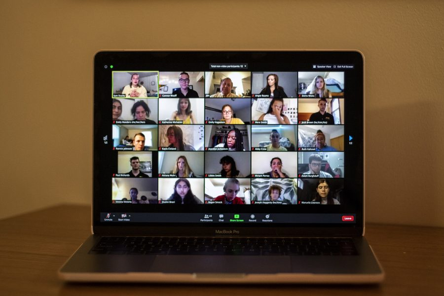 University of Iowa President Bruce Harreld, Associate Vice President and Dean of Students Angie Reams, and members of USG meet virtually at the first University of Iowa Student Government Meeting on Aug. 25, 2020.