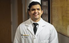 Pictured on Aug. 31, 2020 is Dr. Edward Rojas inside the Orthopedics and Rehabilitation Center at the University of Iowa. UIHC is carrying out research on how chatbots can minimize opioid usage for patients after surgeries.