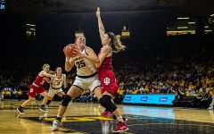 Iowa forward Monika Czinano looks to shoot during a women's basketball match between Iowa and Indiana at Carver-Hawkeye Arena on Sunday, Jan. 12, 2020. The Hawkeyes defeated the Hoosiers, 91-85, in double overtime.