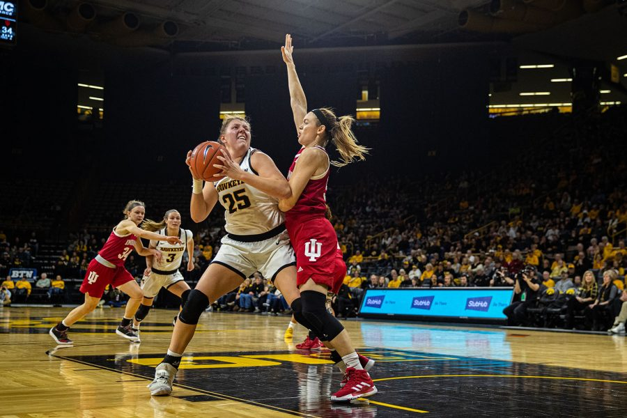 Iowa+forward+Monika+Czinano+looks+to+shoot+during+a+women%27s+basketball+match+between+Iowa+and+Indiana+at+Carver-Hawkeye+Arena+on+Sunday%2C+Jan.+12%2C+2020.+The+Hawkeyes+defeated+the+Hoosiers%2C+91-85%2C+in+double+overtime.+