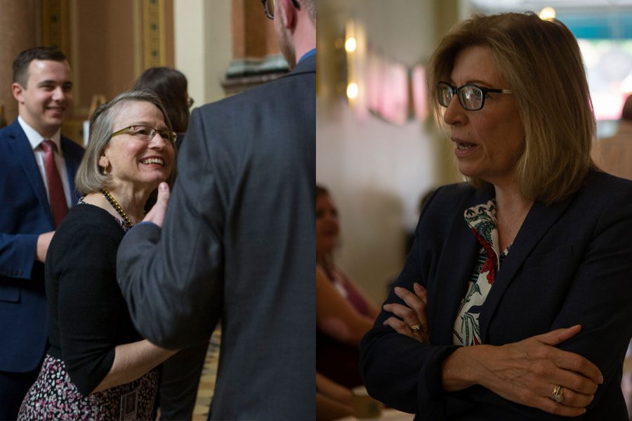 Senator Mariannette Miller-Meeks (left) speaks with a member of UISG during the Hawkeye Caucus at the State Capitol in Des Moines on April 9, 2019. Iowa State Senator Rita Hart (right) speaks with supporters during her meet and greet at Yotopia on June 30, 2019.
