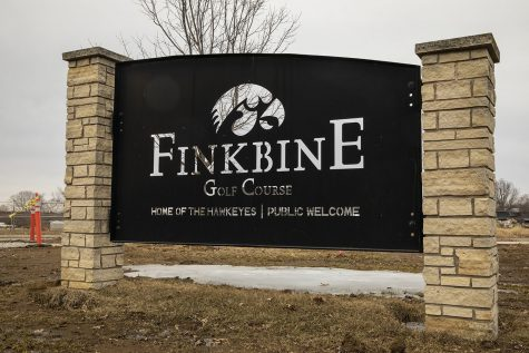 The main entrance sign is seen at Finkbine Golf Course on Feb. 24, 2020.