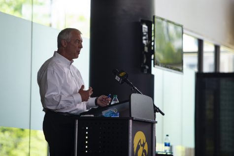 Iowa Athletic Director Gary Barta speaks at a press conference on Monday, June 15, 2020 at Carver-Hawkeye Arena. Barta addressed recent action within the Iowa Athletic Department, including the separation agreement with Chris Doyle, as well as plans for the future.