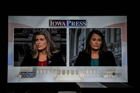 U.S. Sen. Joni Ernst, R-Iowa debates  Democratic U.S. Senate candidate Theresa Greenfield on PBS Iowa on Monday, September 28th, 2020. (Tate Hildyard/The Daily Iowan)