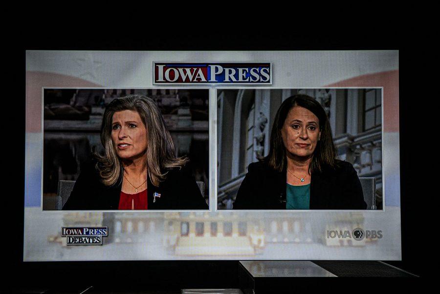 U.S. Sen. Joni Ernst, R-Iowa debates  Democratic U.S. Senate candidate Theresa Greenfield on PBS Iowa on Monday, September 28th, 2020. (Tate Hildyard/The Daily Iowan)