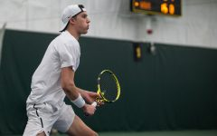Iowa's Joe Tyler eyes the ball during a match against Wichita State University on Sunday, Feb. 16, 2020, at the Hawkeye Tennis and Recreation Complex. The Hawkeyes defeated the Shockers, 4-2.