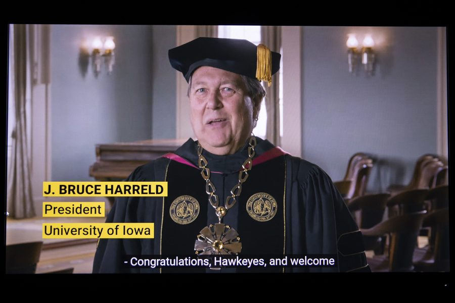University of Iowa President Bruce Harreld speaks during virtual commencement on Saturday, May 16, 2020. Due to concerns surrounding the COVID-19, the University of Iowa moved fall commencement online.