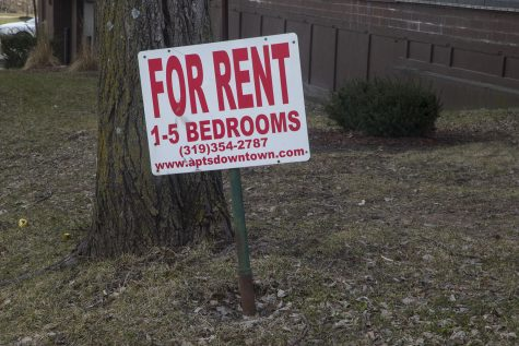 A for rent sign is seen on March 29, 2019.