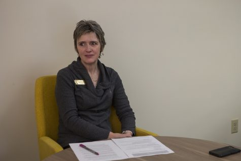 Director for Student Wellbeing and Harm Reduction Initiatives Tanya Villhauer speaks in an interview with The Daily Iowan on Feb. 21, 2019.