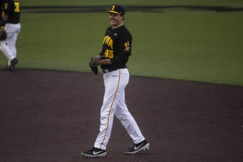 Iowa first baseman Peyton Williams grins during a baseball game between the Iowa Hawkeyes and the Kansas Jayhawks on Tuesday, March 10, at Duane Banks Field. The Hawkeyes defeated the Jayhawks, 8-0.