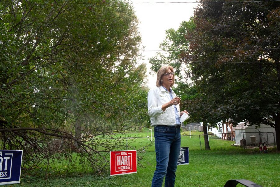 Democratic candidate for Congress Rita Hart arrived in Iowa City for her backyard talk campaign tour on September 26, 2020. Hart talked about her campaign promises and addressed issues related to gun control, healthcare, the economy, and police reform.