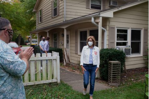 Democratic candidate for Congress Rita Hart arriving at Johnson County Supervisor Rod Sullivan's house for her backyard campaign tour in Iowa City on September 26, 2020. (Daniel McGregor-Huyer/The Daily Iowan)
