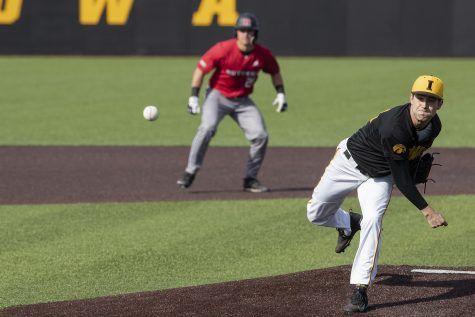 Iowa pitcher Grant Leonard throws a pitch during the seventh inning of the afternoon Iowa vs Rutgers game at Duane Banks Field on Saturday, April 7, 2019. The Hawkeyes defeated the Scarlet Knights 9-5.