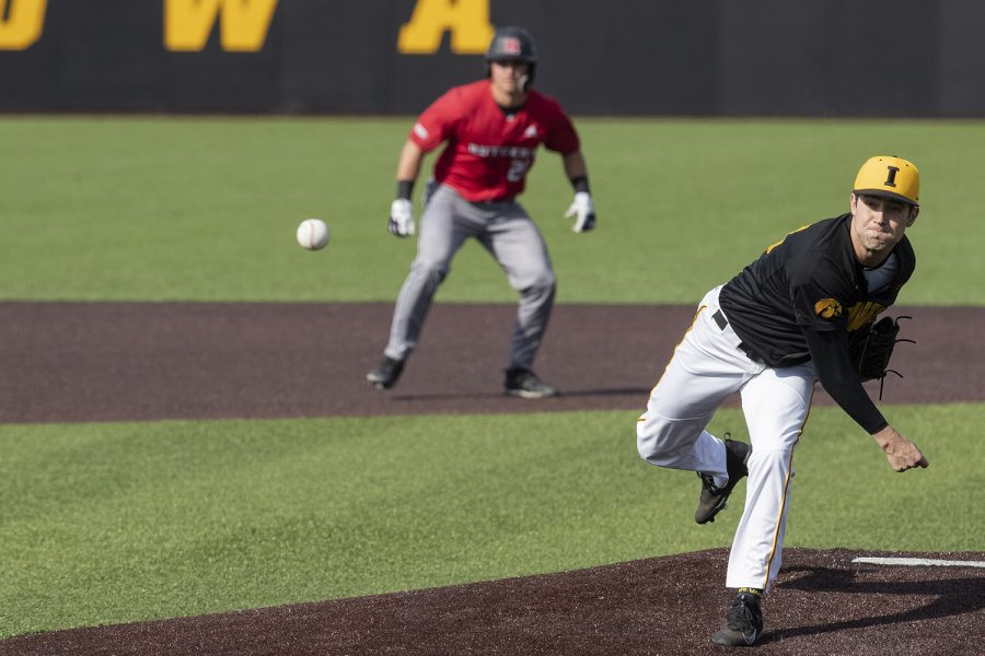 Iowa+pitcher+Grant+Leonard+throws+a+pitch+during+the+seventh+inning+of+the+afternoon+Iowa+vs+Rutgers+game+at+Duane+Banks+Field+on+Saturday%2C+April+7%2C+2019.+The+Hawkeyes+defeated+the+Scarlet+Knights+9-5.+