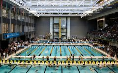 Swimmers compete during the second session of the the 2020 Big Ten Women's Swimming and Diving Championship at the the HTRC on Friday, Feb. 21, 2020.