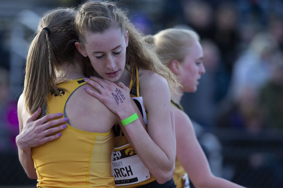 Iowa+runner+Mary+Arch+hugs+her+teammate+after+the+3000m+run+at+the+Musco+Twilight+Invitational+at+the+Cretzmeyer+Track+on+Saturday%2C+April+13%2C+2019.+Arch+finished+fourth+with+a+time+of+10%3A23%3A58.+The+Hawkeyes+won+10+events+during+the+meet.+The+Iowa+women+ranked+first+with+183+points%2C+and+the+men+ranked+fifth+76+points.