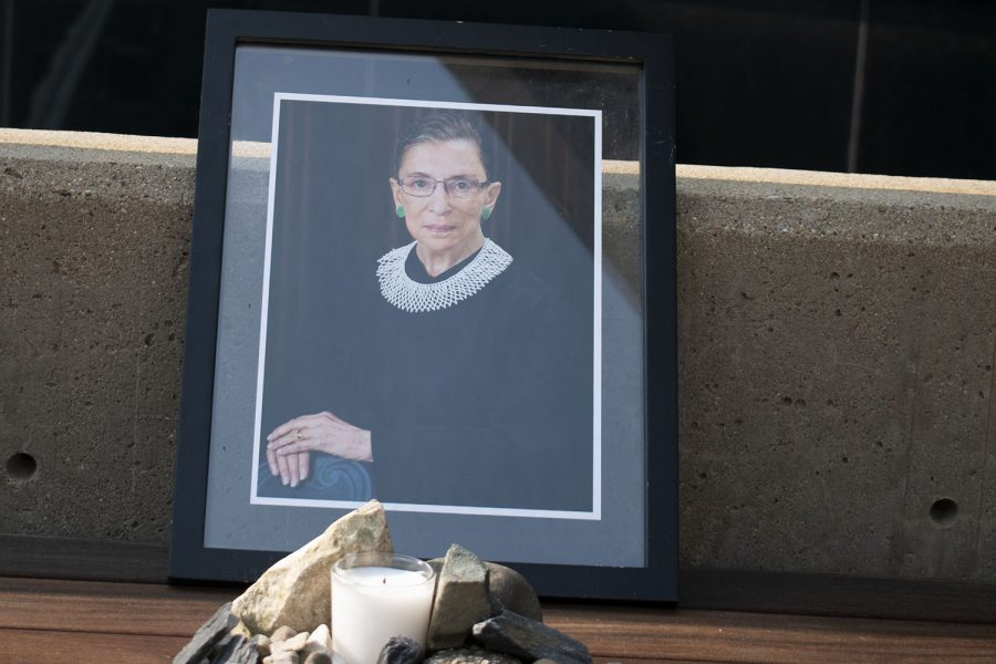 A+memorial+for+Ruth+Bader+Ginsburg+is+seen+outside+the+University+of+Iowa%27s+College+of+Law+building+on+Monday%2C+Sept.+21%2C+2020.+Ginsburg+passed+away+Friday%2C+Sept.+18%2C+2020.