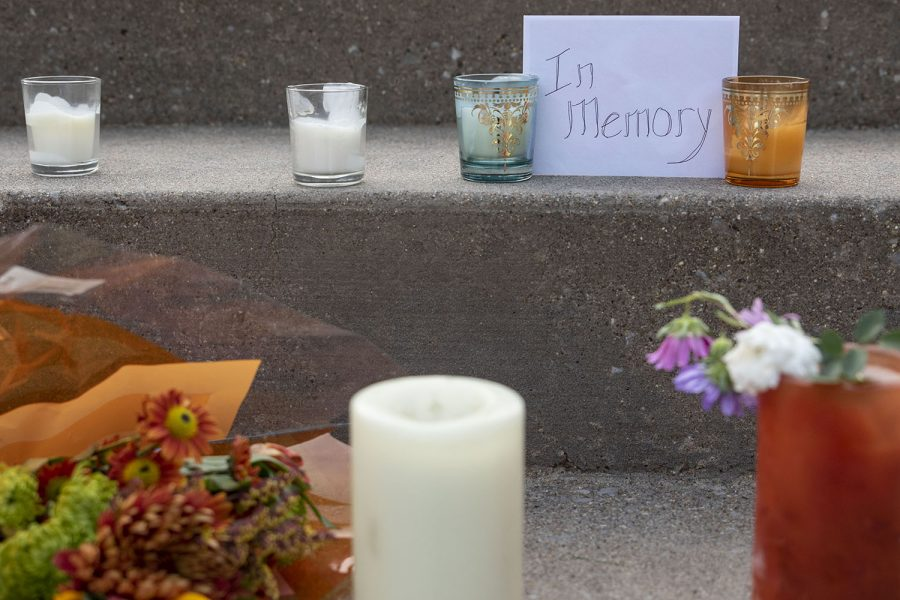 A memorial sits outside of the Johnson County Courthouse on Saturday, Sept. 19, 2020. The memorial, likely for Supreme Court Justice Ruth Bader Ginsburg who died last night.