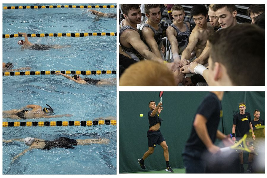 In this triptych, Women's Swimming, Men's Gymnastics, and Men's Tennis are seen during their 2019-2020 season. (Daily Iowan Photo Staff)