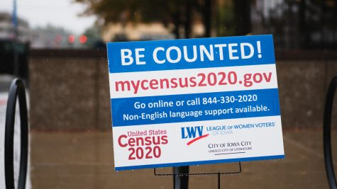 A census awareness lawn sign during a rainy day in front of the U.S. Department of Veterans Affairs building on Thursday Sept. 10, 2020. COVID-19 has made collecting the census a harder task than in previous years so this sign promotes taking the census online.