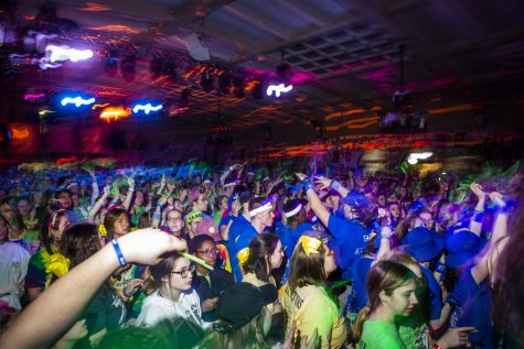 Participants dance during the Power Hour in UI Dance Marathon 26 at the Iowa Memorial Union on Saturday, February 8, 2020. Over 2,500 dancers partook in the event to help raise money for the University of Iowa Stead Family Children