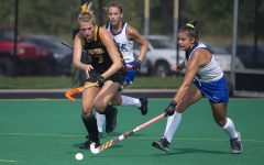 Iowa midfielder Ellie Holley runs after the ball during a field hockey game between Iowa and Duke at Grant Field on Sunday, September 15, 2019. The Hawkeyes were defeated by the Blue Devils, 2-1 after two overtime periods.
