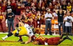Iowa State quarterback Brock Purdy looks to pass during a football game between Iowa and Iowa State at Jack Trice Stadium in Ames on Saturday, September 14, 2019. The Hawkeyes retained the Cy-Hawk Trophy for the fifth consecutive year, downing the Cyclones, 18-17.