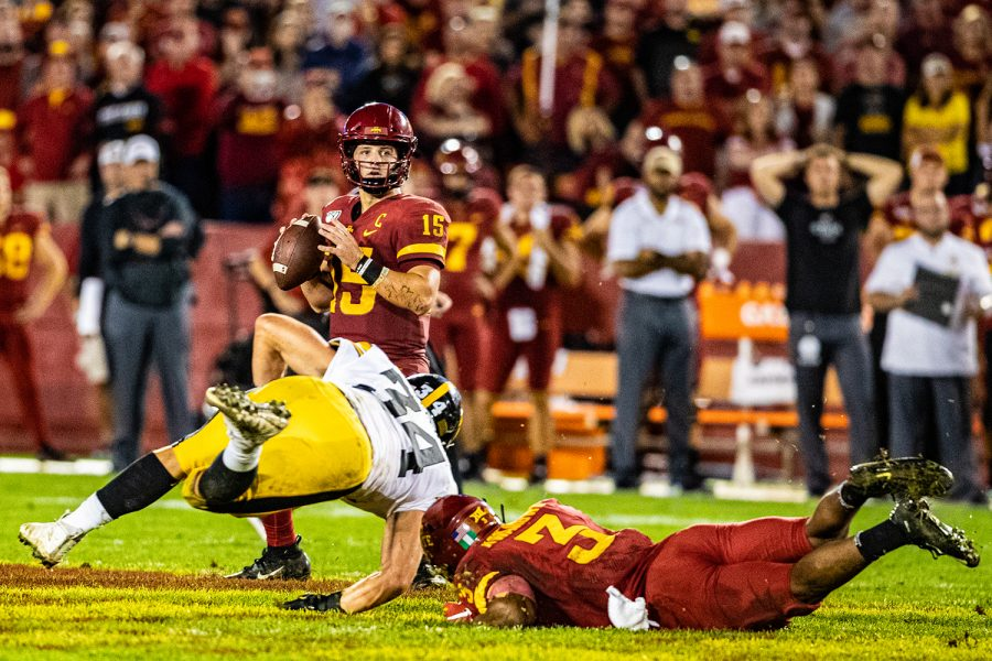 Iowa+State+quarterback+Brock+Purdy+looks+to+pass+during+a+football+game+between+Iowa+and+Iowa+State+at+Jack+Trice+Stadium+in+Ames+on+Saturday%2C+September+14%2C+2019.+The+Hawkeyes+retained+the+Cy-Hawk+Trophy+for+the+fifth+consecutive+year%2C+downing+the+Cyclones%2C+18-17.+
