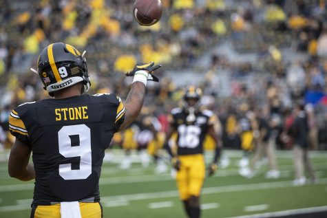Defensive-back Geno Stone warms-up during Iowa football vs. Miami (Ohio) at Kinnick Stadium on Aug. 31, 2019. Iowa defeated the Miami (Ohio) 38-14.