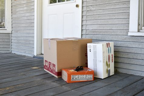 A moving box pictured in front of a house on Wednesday Sep. 2nd 2020.