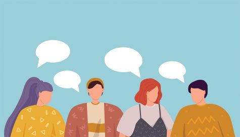 Vector illustration, flat style, Group of people discuss social media news, social networks, chat, dialogue speech bubbles